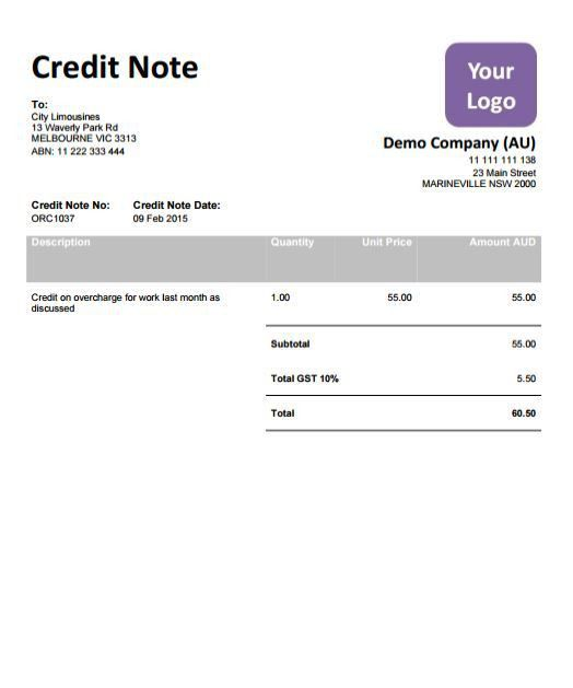 CN009-X Xero Template Credit Note 9 - Virtual Templates