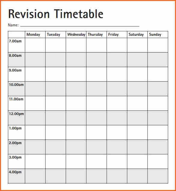 11+ weekly timetable pdf - Budget Template Letter