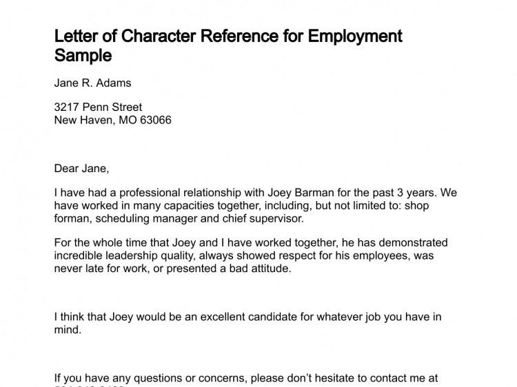 Character Reference Letter For Employee | The Letter Sample