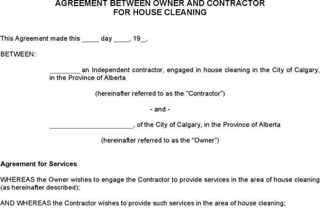 cleaning service contract requirement free doc format template ...