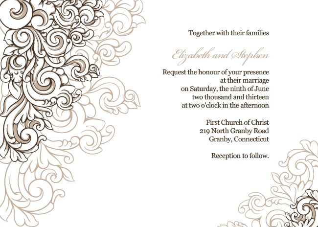 FREE PDF Download. Scrolling Border Wedding Invitation. Template ...