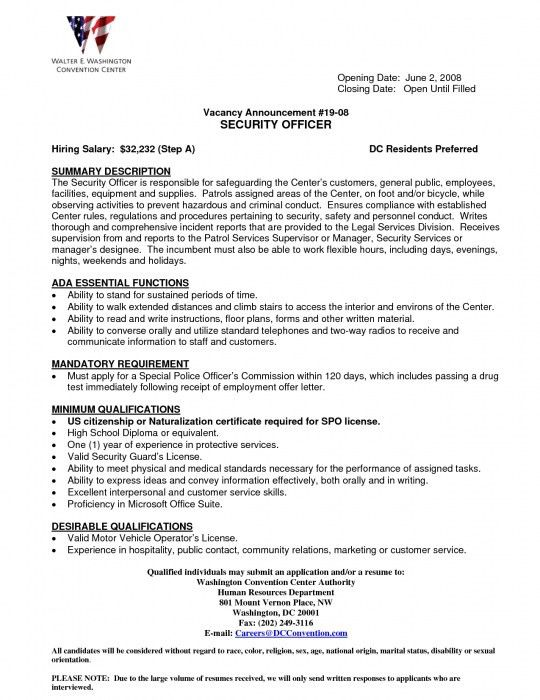 The Most Amazing Armed Security Officer Resume | Resume Format Web