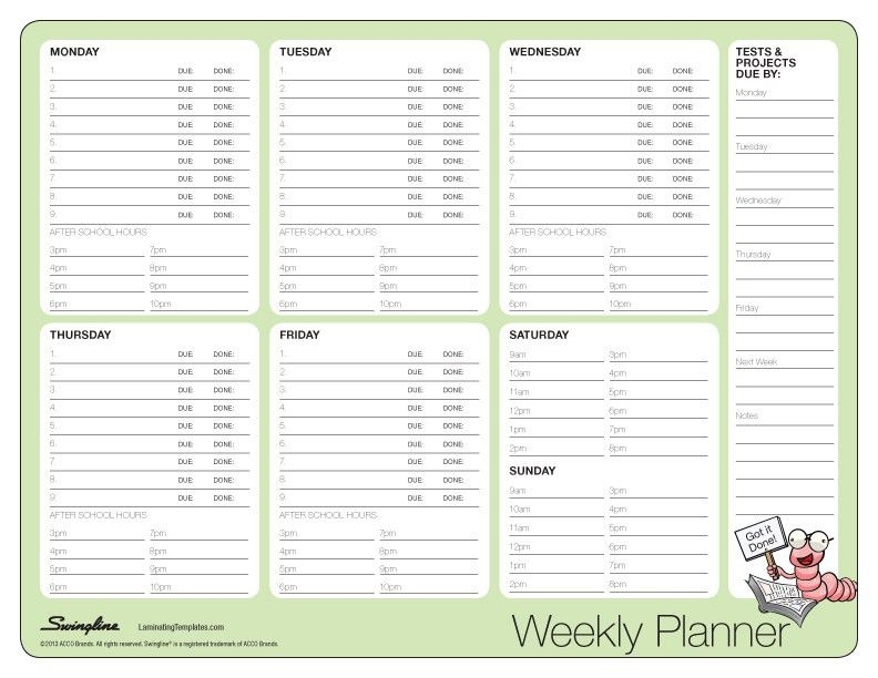 Weekly Planner - Laminating Templates