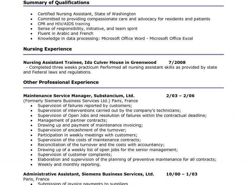 Cna Duties Resume - Resume Example