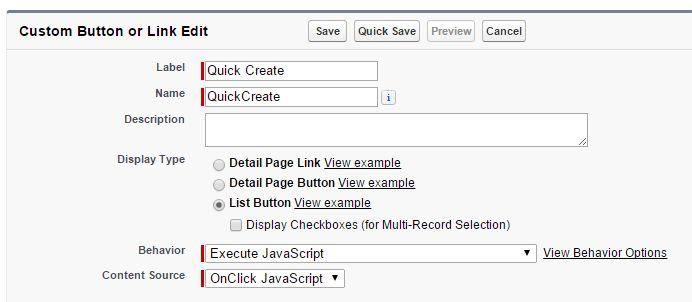 Salesforce List Button Javascript examples