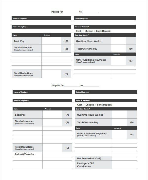 Basic Payslip Template Excel [Template.billybullock.us ]