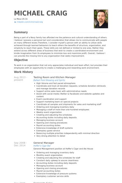 Kitchen Manager Resume samples - VisualCV resume samples database