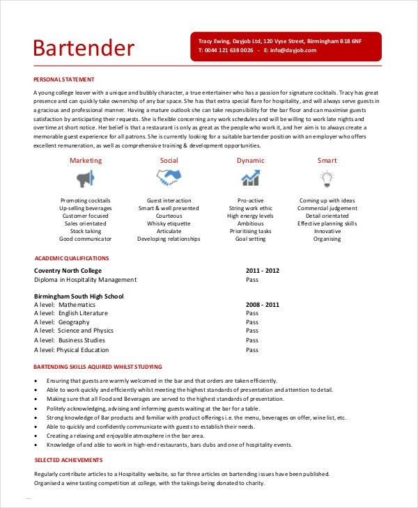 Bar Resume Examples. Examples Of Retail Resumes Example Cv Bar Job ...