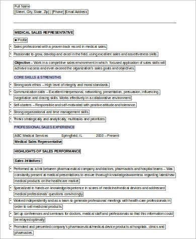 Sample Medical Sales Resume - 8+ Examples in Word, PDF