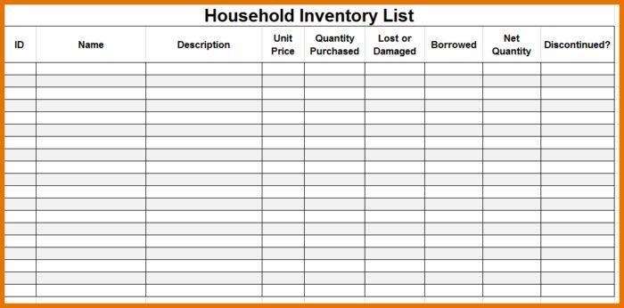 Moving Inventory List Or Home Inventory Template For Your ...