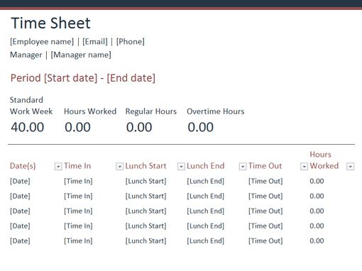 Time Sheet - Office Templates