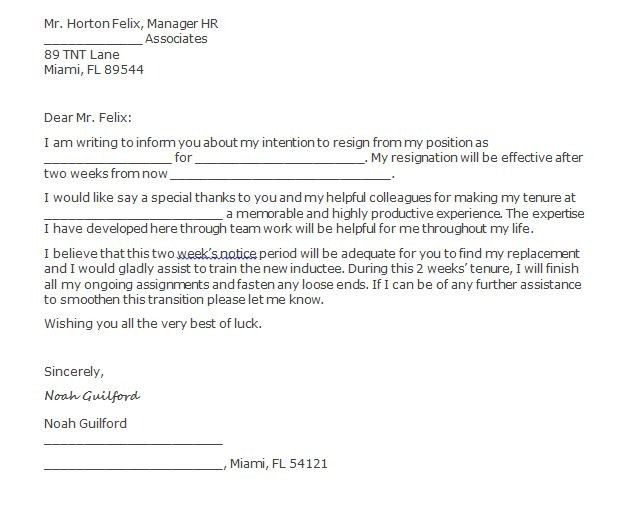 Resignation Letter Two Weeks Notice | Template Design