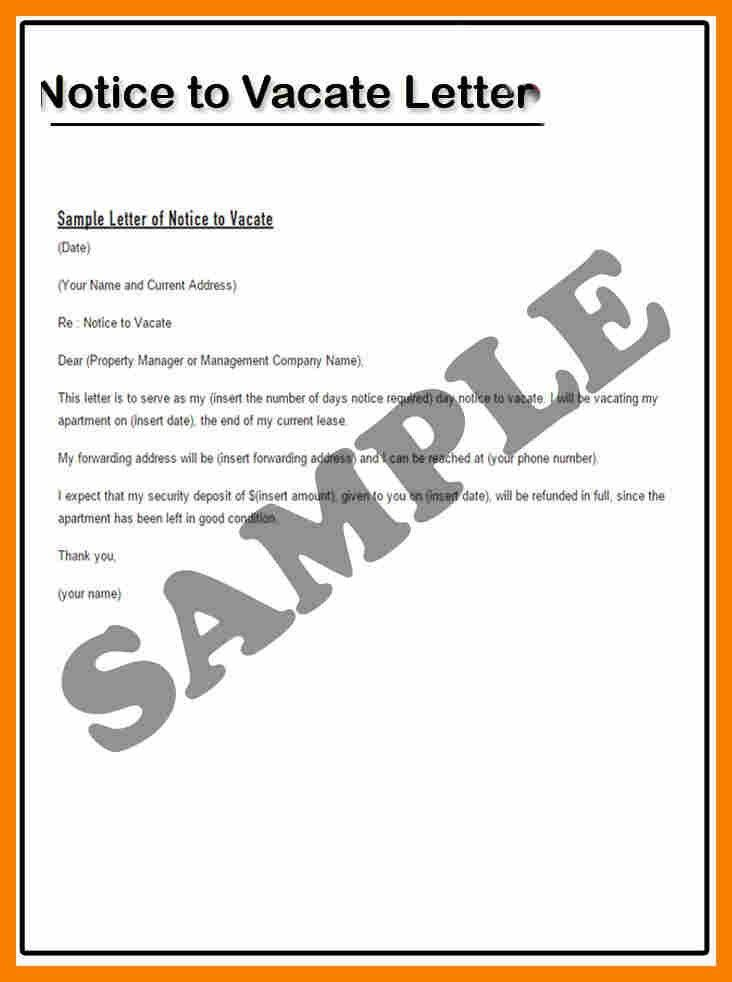 Sample Intent To Vacate Letter. 30 Day Notice Letter To Landlord ...