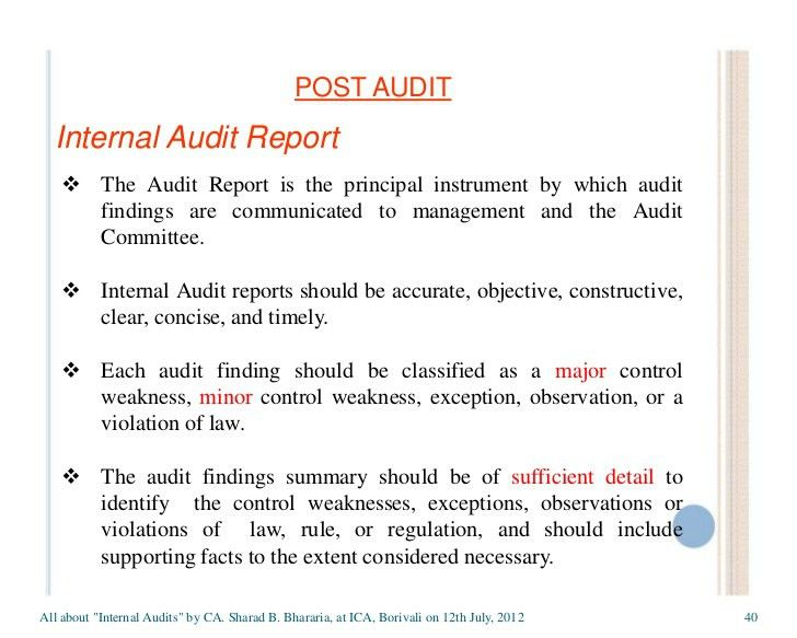 internal audit report sample download