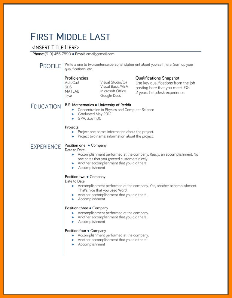 college resume template microsoft word