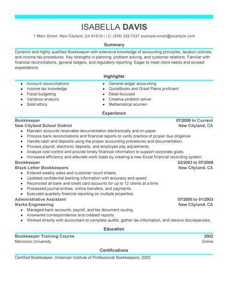 Best Bookkeeper Resume Example | LiveCareer