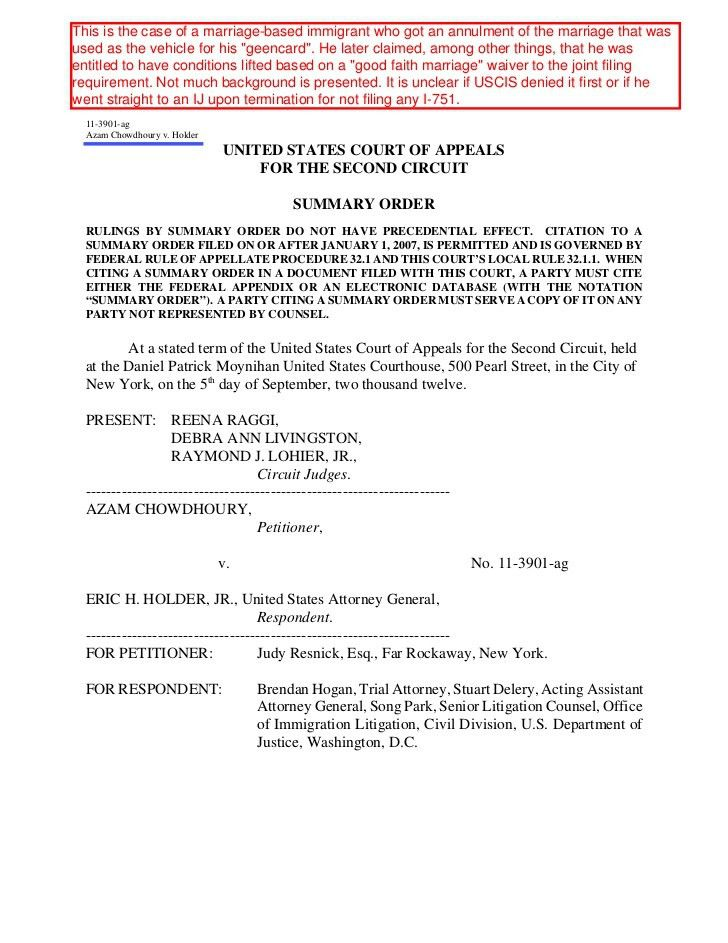 Azam Chowdhoury v. Holder, No.11 3901 (2nd cir) 9-5-12 denying I-751…
