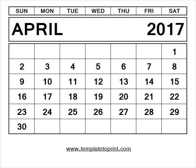 2017 Monthly Calendar Template PDF Print Online | JPG Format