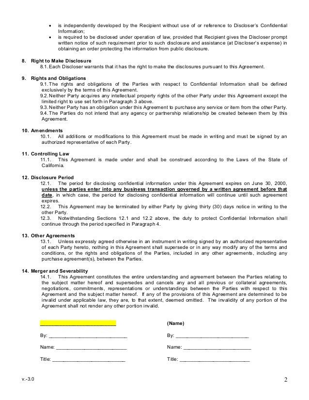 Sample Mutual Non Disclosure Agreement