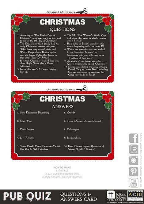 Pub Quiz Free Printable - Christmas Quiz | Talking Tables