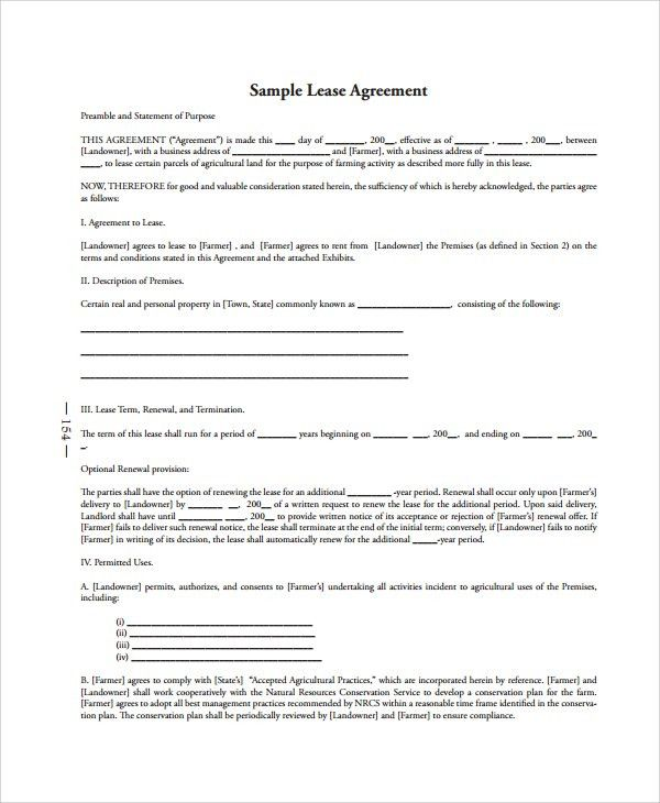 Sample Lease Agreement - 23+ Free Documents Download in Word, PDF