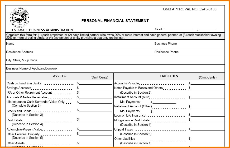 11 blank financial statement | Financial Statement Form