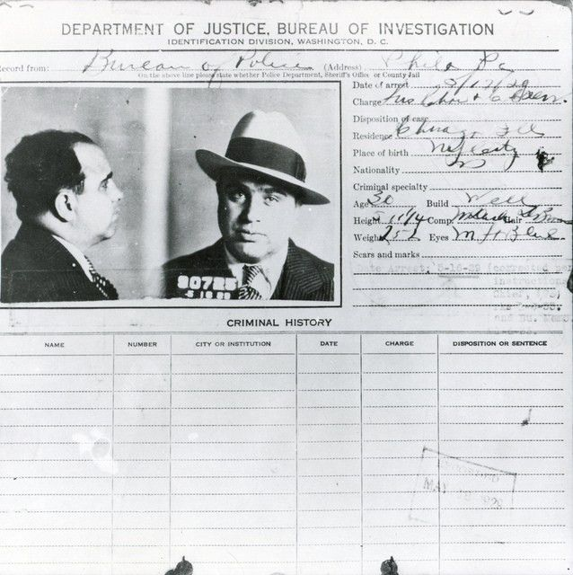 Al Capone wanted poster - criminal history record or 'rap sheet ...