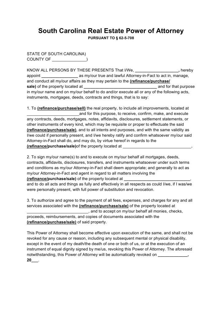 Free South Carolina Real Estate Power of Attorney Form - PDF ...