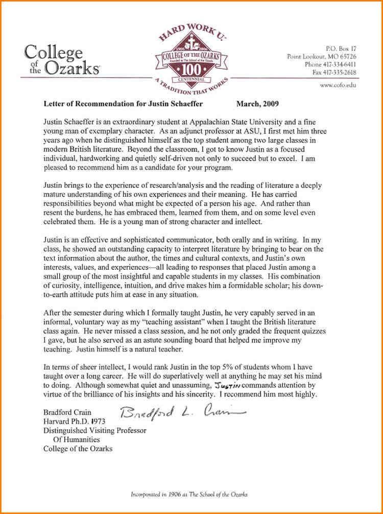 8+ recommendation letter for student | writable calendar