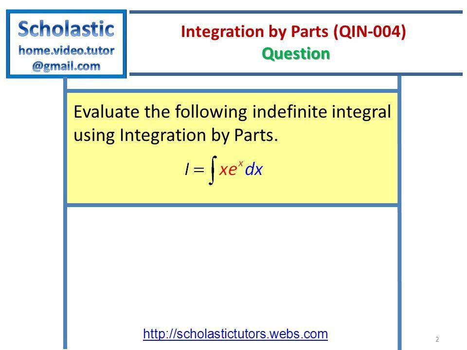 International Baccalaureate (IB) Integration by Parts Example 1 ...