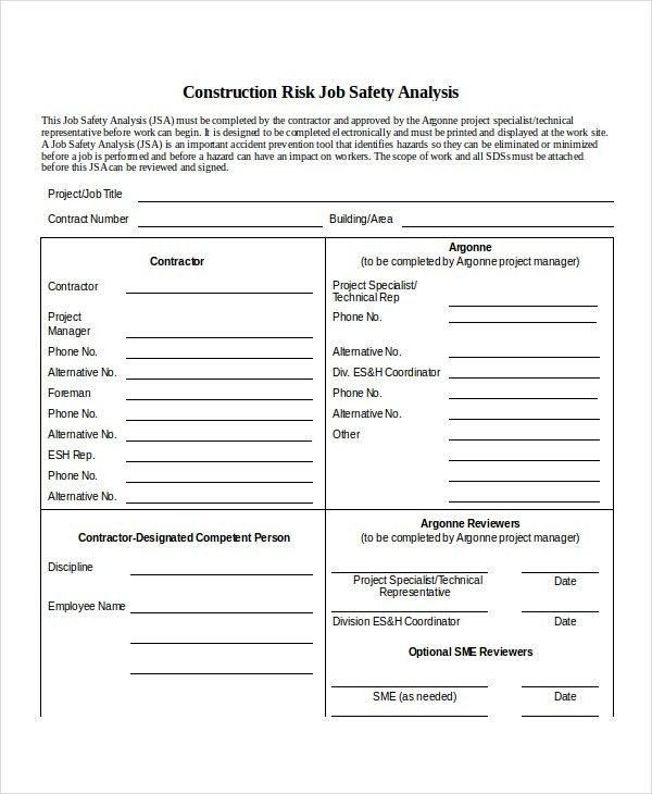 9+ Job Safety Analysis - Free Sample, Example, Format | Free ...