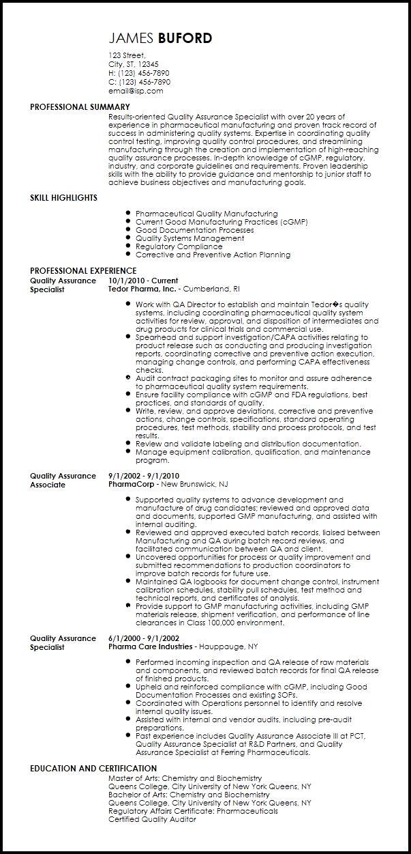 Free Professional QA Specialist Resume Template | ResumeNow