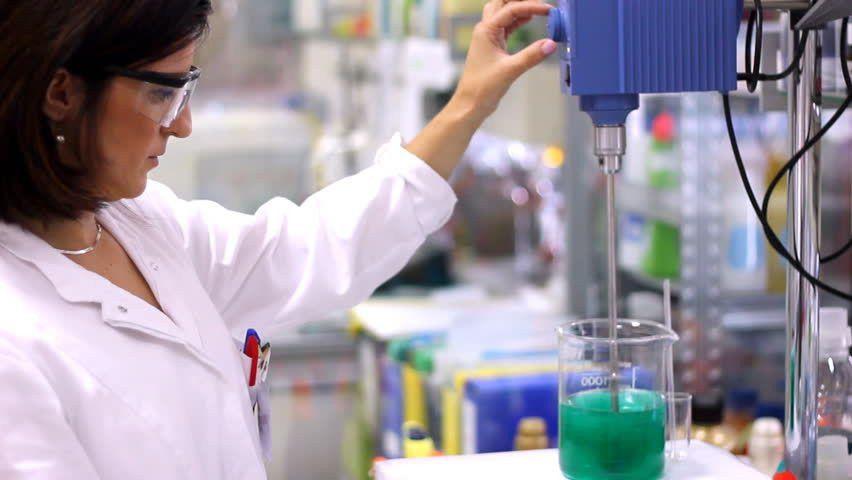 Chemist Engineer - Laboratory. Chemist Woman Works With Lab Mixer ...