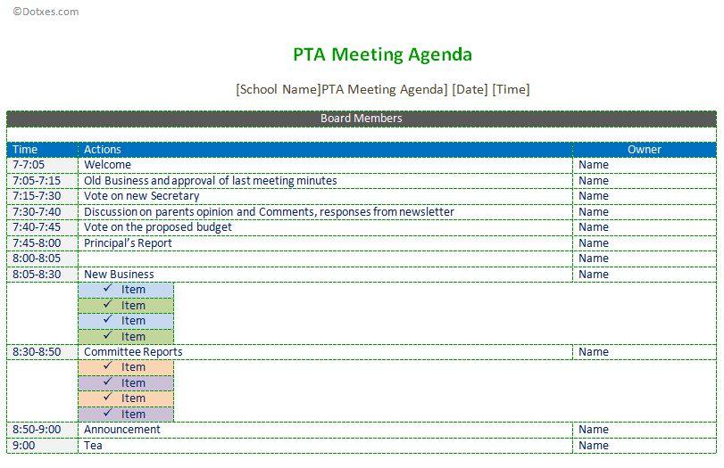 PTA meeting agenda template - Dotxes