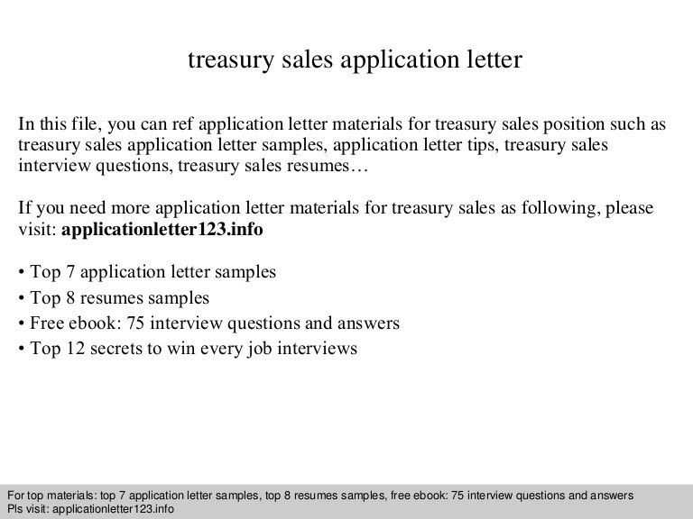 Treasury sales application letter