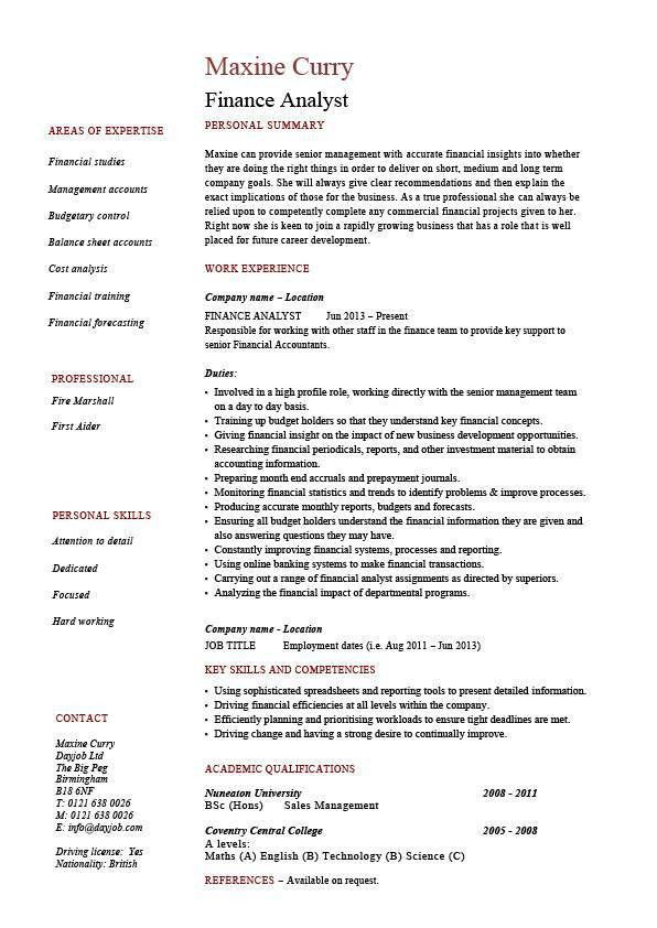 Finance analyst resume, analysis, sample, example, modelling ...