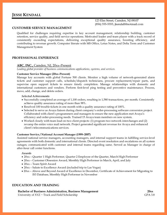 Service Manager Resume] Customer Service Manager Resume Example ...