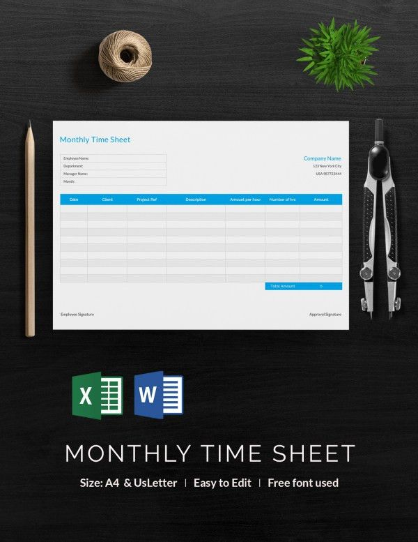 34+ Timesheet Templates - Free Excel, DOC, PDF Download | Free ...