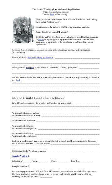 Hardy-Weinberg Equilibrium Worksheet