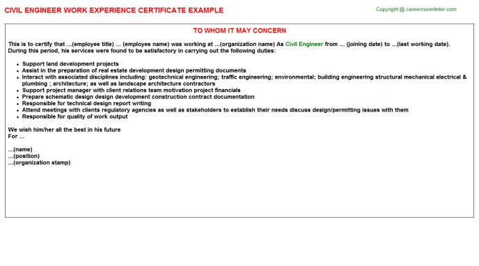 Civil Engineer Work Experience Certificate