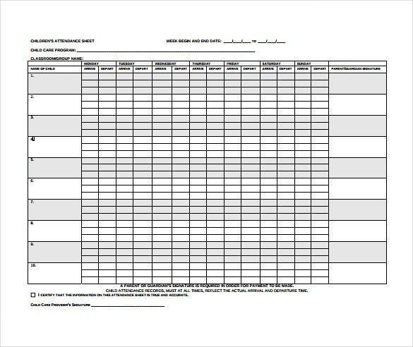 Attendance Sheet Template Excel