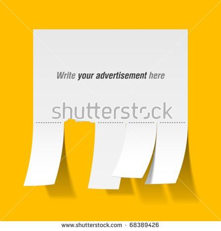 Blank Advertisement Tear Off Tabs Vector Stock Vector 68389426 ...