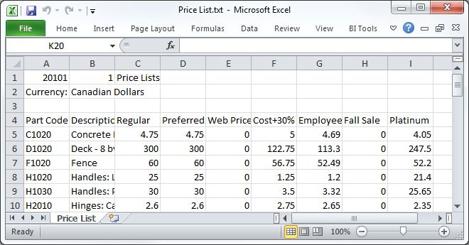 Exporting and importing price lists using CSV format in Sage 50
