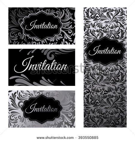 Set Invitations Templates Business Cards Silver Stock Vector ...
