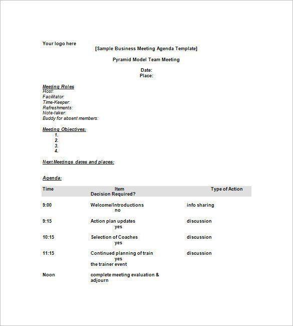 Sample Meeting Agenda Template  SaveBtsaCo