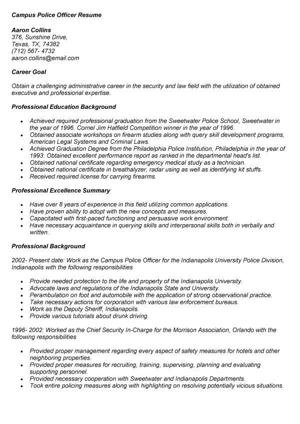 resume law enforcement resume templates. phenomenal police resume ...