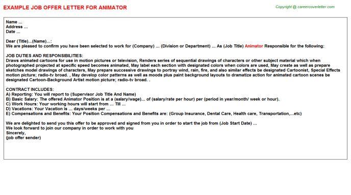 Animator Offer Letter