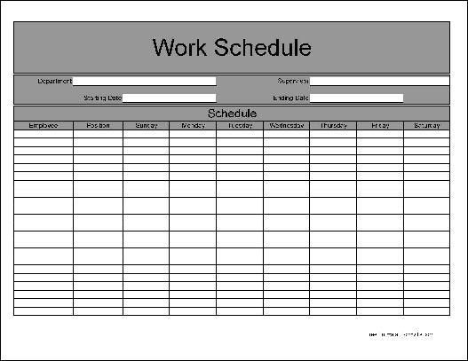 Free Basic Weekly Work Schedule from Formville