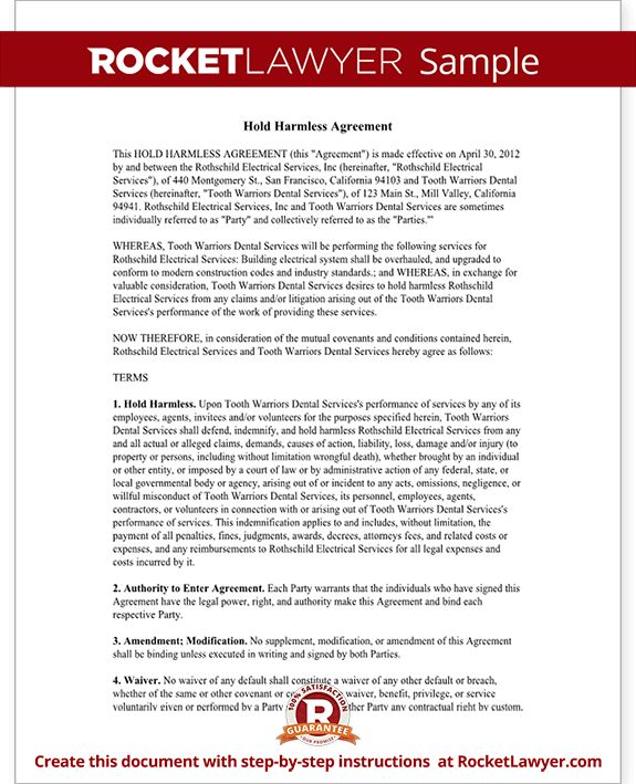 Hold Harmless Agreement Template, Letter, with Sample