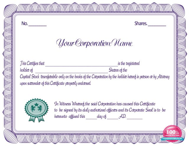 Blue Stock Certificate Template | Blank Certificates